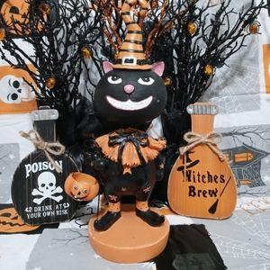 Vintage Halloween Black Cat Bobblehead Figure